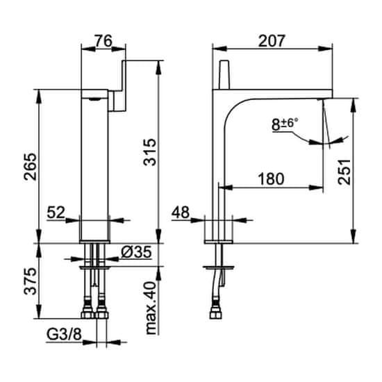 Keuco Keuco Edition 11 - Umývadlová batéria páková 250 bez odtokovej garnitúry, prietok 7,6l/min., chróm 51102010103