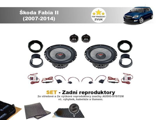 Audio-system SET - zadní reproduktory do Škoda Fabia II (2007-2014)- Audio System X