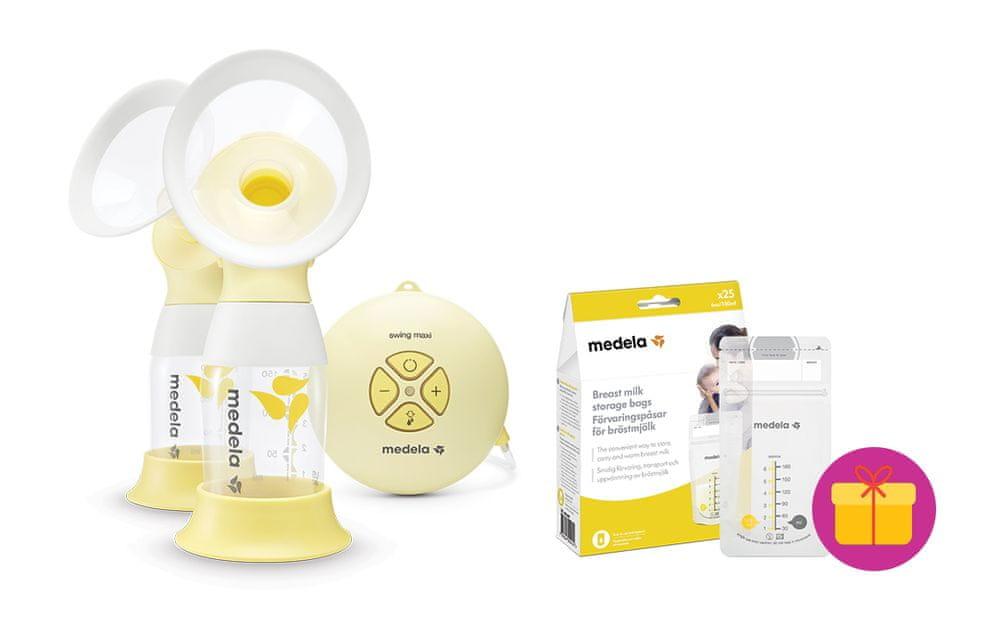 Medela Odsávačka mléka elektrická double Swing Maxi Flex + dárek (sáčky na skladování mléka 25 ks)