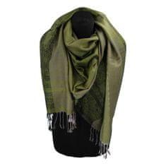 Cashmere Kašmírová šála pruhovaná s ornamentem Indie, zelená