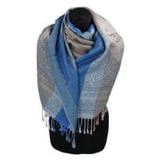 Cashmere Kašmírová šála pruhovaná s ornamentem Indie, modrá/ tyrkysová