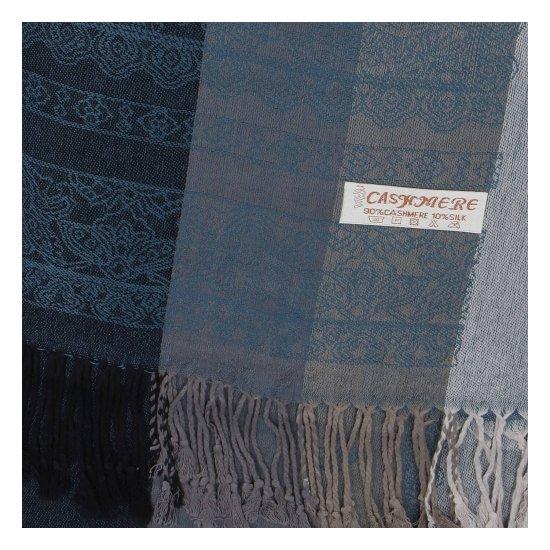 Cashmere Kašmírová šála pruhovaná s ornamentem Indie, modro-černá