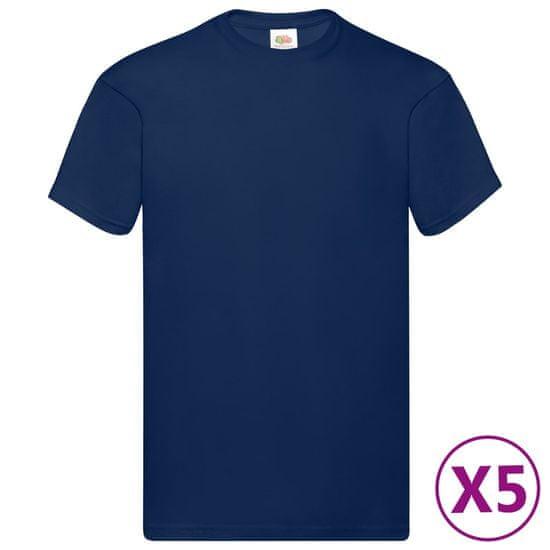 Greatstore Fruit of the Loom Originalne majice 5 kosov mornarsko modre M bombaž
