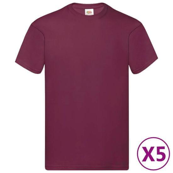 shumee Fruit of the Loom Oryginalne T-shirty, 5 szt., burgund, L, bawełna