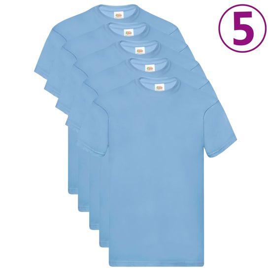 shumee Fruit of the Loom Originalne majice 5 kosov svetlo modre 3XL bombaž