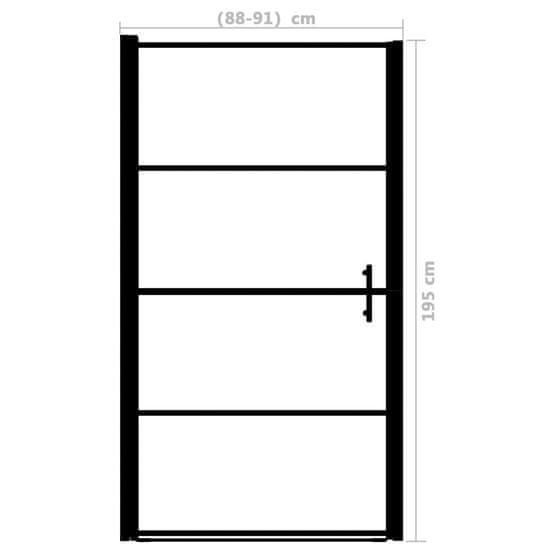 shumee Sprchové dvere nepriehľadné tvrdené sklo 91x195 cm čierne