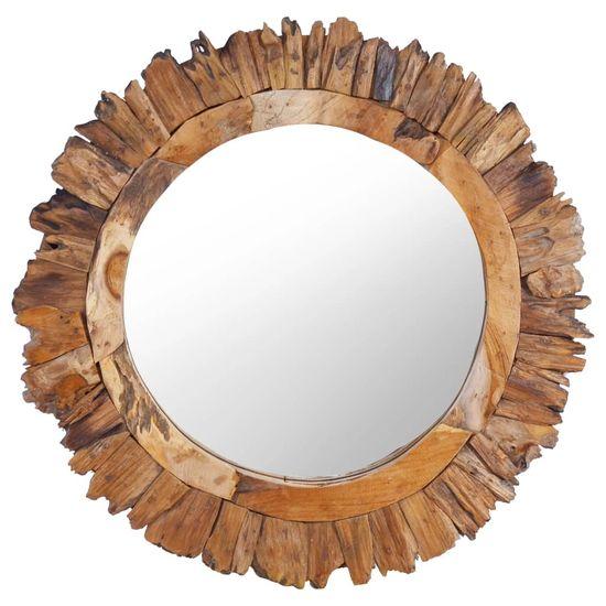 shumee Stensko ogledalo 60 cm iz tikovine okroglo