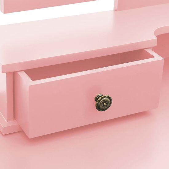 shumee Toaletka ze stołkiem, różowa, 100x40x146 cm, drewno paulowni