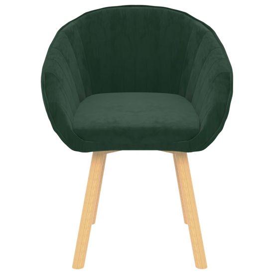 shumee Jedilni stoli 2 kosa temno zelen žamet