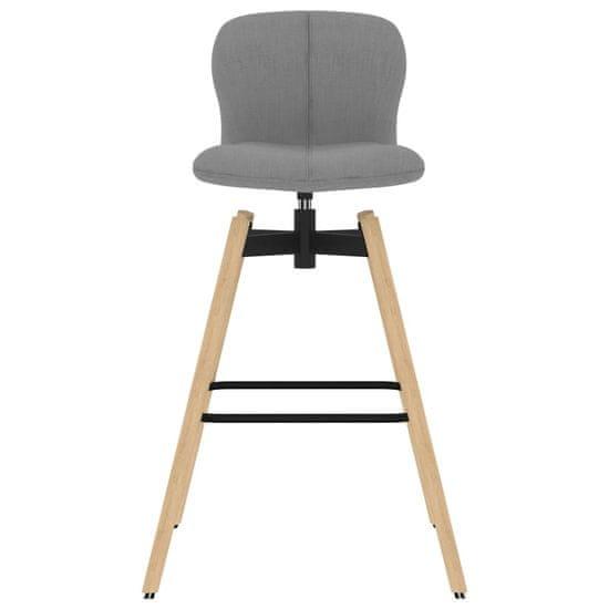 shumee Otočné barové stoličky 2 ks, svetlosivé, látka