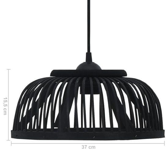 Greatstore Závesná lampa, čierna, bambus, 37x15,5 cm, 40 W, polkruhová E27