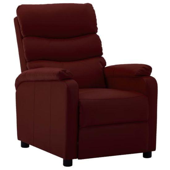 shumee Fotelj iz umetnega usnja vinsko rdeč