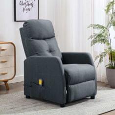 shumee Rozkładany fotel masujący, jasnoszary, tapicerowany tkaniną