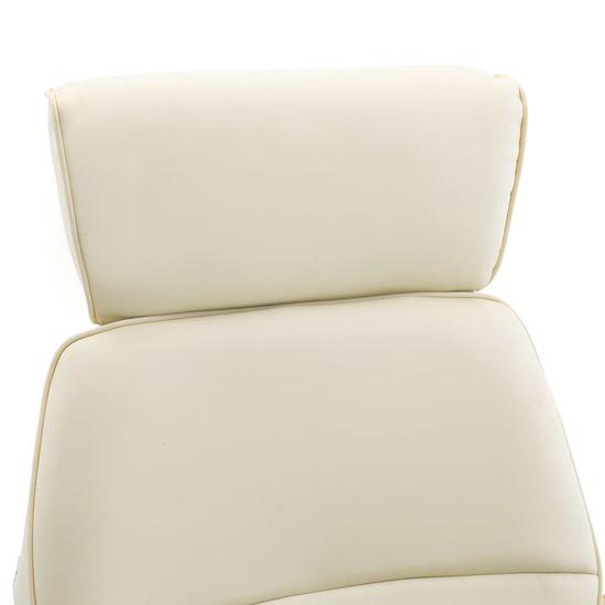 shumee Naslanjač s stolčkom za noge kremno belo umetno usnje