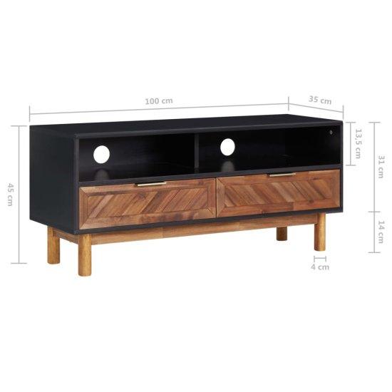 shumee TV skrinka 100x35x45 cm masívne akáciové drevo a MDF
