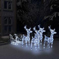Greatstore Vianočná dekorácia so sobmi a saňami 400 LED akryl