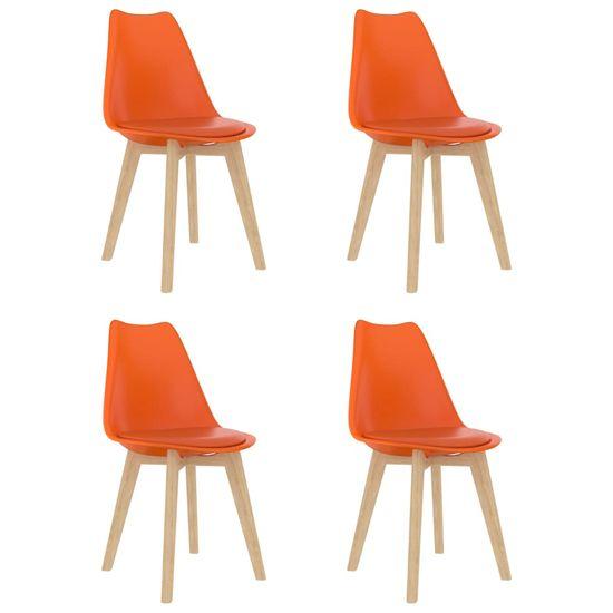 shumee Jedálenské stoličky 4 ks, oranžové, plast