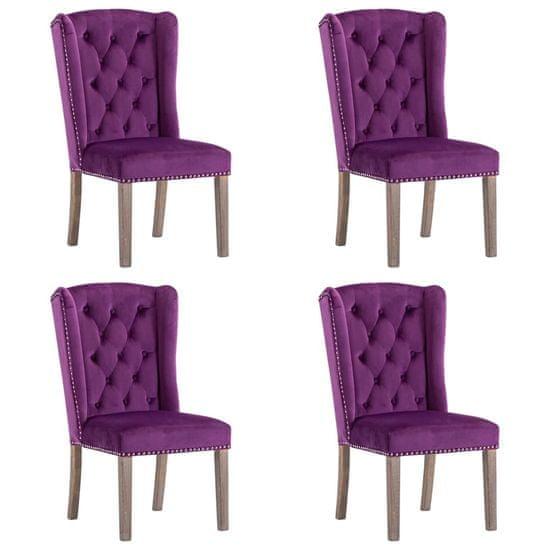 shumee Jedilni stoli 4 kosi vijoličen žamet