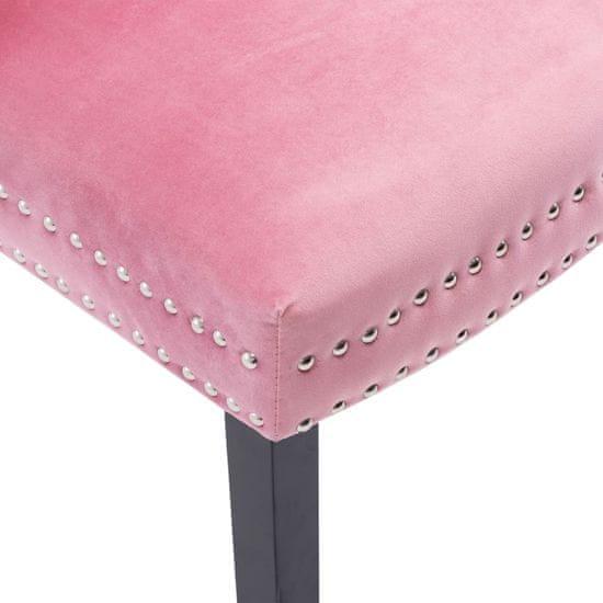 shumee Krzesła stołowe, 4 szt., różowe, aksamitne