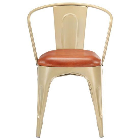 shumee Jedilni stoli 4 kosi rjavo pravo usnje