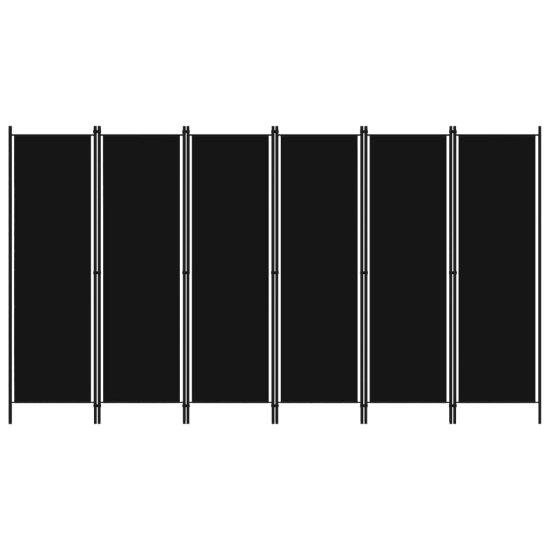 shumee Paravan 6-delni črn 300x180 cm