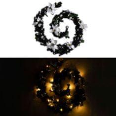 shumee vánoční věnec s LED světly černý 2,7 m PVC