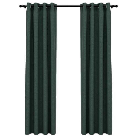 shumee 2 db zöld, vászonhatású sötétítőfüggöny fűzőkarikával 140 x 225 cm
