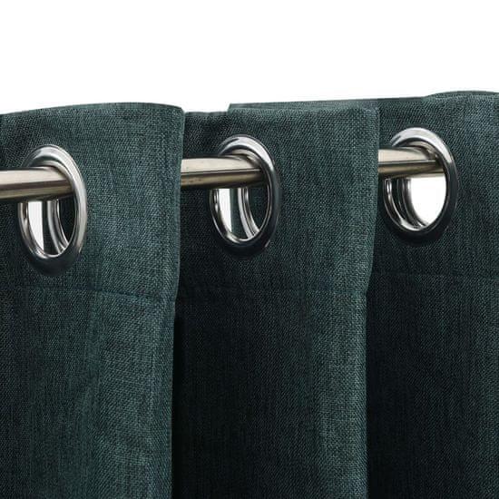 shumee Zatemnitvene zavese z obročki 2 kosa zelene 140x175 cm