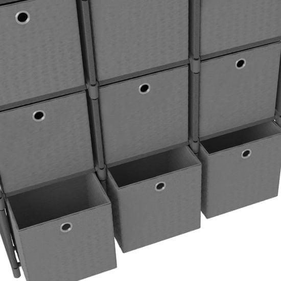 shumee Regał z 9 przegrodami, pudełka, szary, 103x30x175,5 cm, tkanina