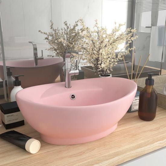 shumee Owalna umywalka z przelewem, matowy róż, 58,5x39 cm, ceramika