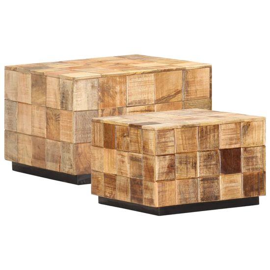 slomart Klubske mizice 2 kosa s kockastim dizajnom trden mangov les