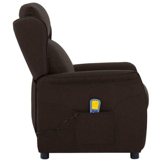 shumee Rozkładany fotel masujący, ciemnobrązowy, tapicerowany tkaniną