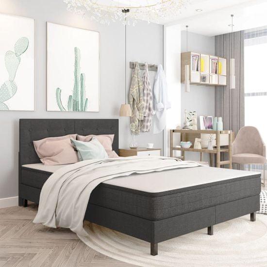 slomart Boxspring postelja temno siva iz blaga 140x200 cm