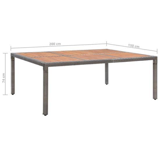 shumee szürke polyrattan és akácfa kerti asztal 200 x 150 x 74 cm