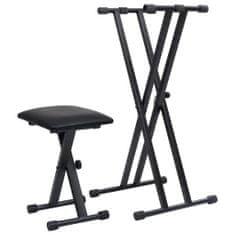 Greatstore Set dvojitého stojanu na klávesy a stolička černý