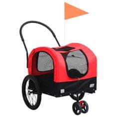 shumee 2 v 1 kolesarska in tekaška prikolica za pse rdeča in črna