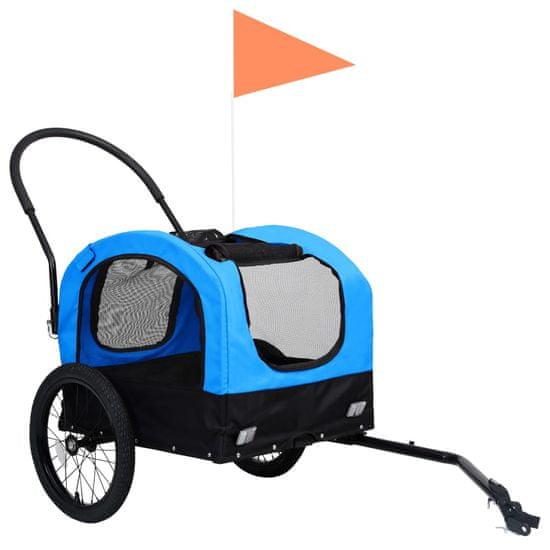 shumee 2 v 1 kolesarska in tekaška prikolica za pse modra in črna