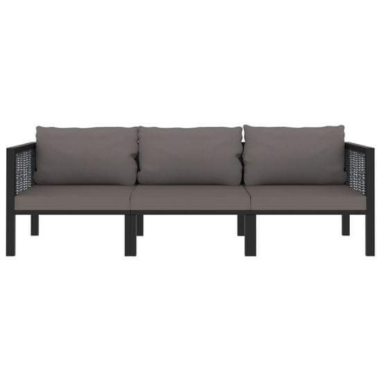 shumee 3-osobowa sofa ogrodowa z poduszkami, antracytowa, polirattan