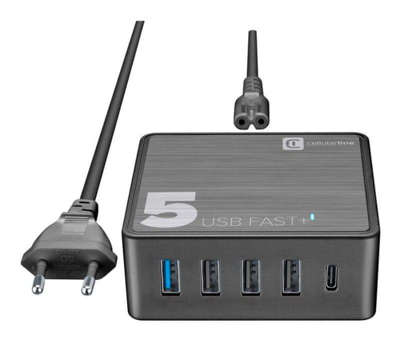 CellularLine Síťová nabíječka Multipower 5 Fast+ 4xUSB + USB-C port, 60W ACHUSB5QCPD60WK