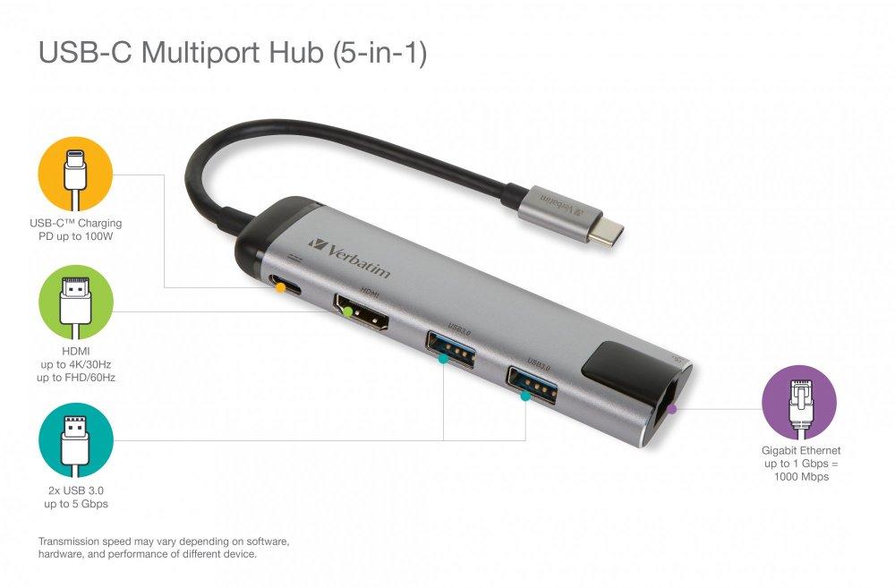 Verbatim Víceportový rozbočovač USB-C, USB 3.1 GEN 1 / 2× USB 3.0 / HDMI / RJ45 (49141)