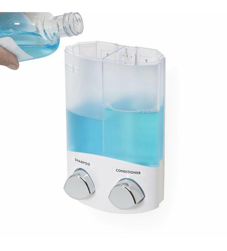 Compactor DUO dávkovač mýdla / šampónu nebo desinfekce na zeď, bílý plast, 2x 310 ml