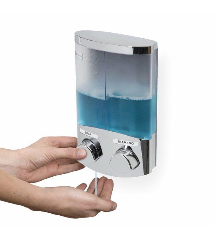 Compactor DUO dávkovač mýdla / šampónu nebo desinfekce na zeď, chrom plast, 2x 310 ml