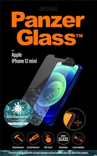 PanzerGlass Standard Antibacterial zaščitno steklo za Apple iPhone 12 Mini 2707, prozorno