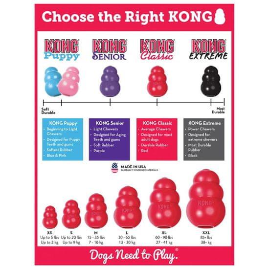 KONG Classic igrača za pse, L, z vrvico, rdeča