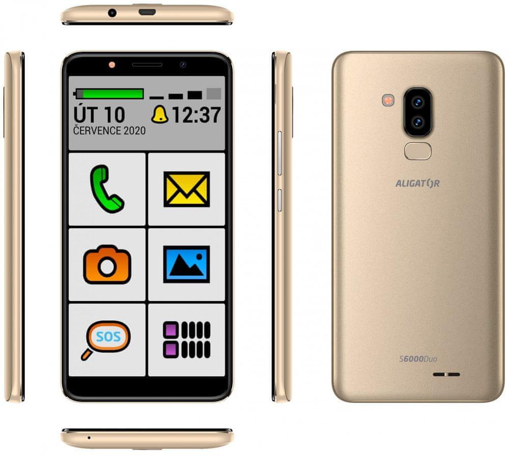 Aligator S6000 Senior, 1GB/16GB, Gold - zánovní