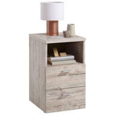 FMD Noční stolek se 2 zásuvkami a otevřenou poličkou pískový dub