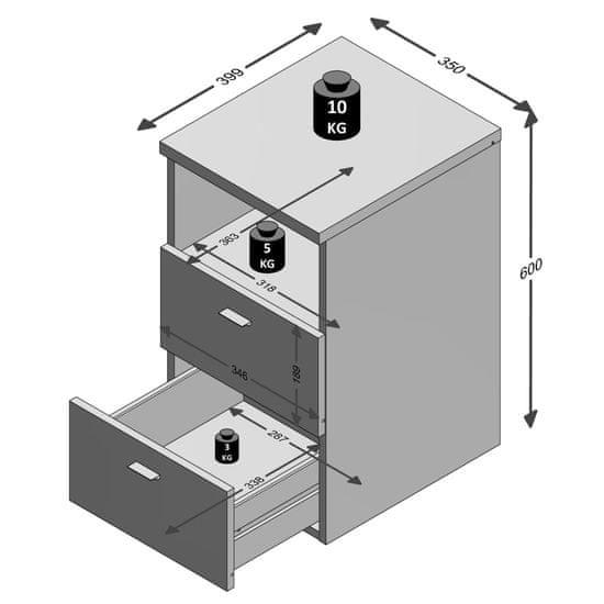 shumee FMD Nočna omarica z 2 predaloma in odprto polico barva hrasta