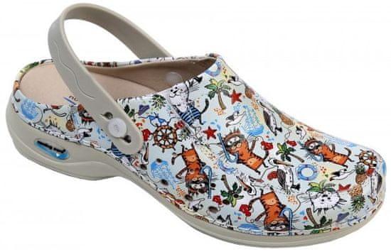 Nursing Care BERLIM pracovní kožená pratelná obuv s certifikací dámská s páskem cartoons WG4APF37 Nursing Care Velikost: 35
