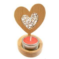 AMADEA Dřevěný svícen srdce s vkladem - ornament, masivní dřevo, výška 10 cm