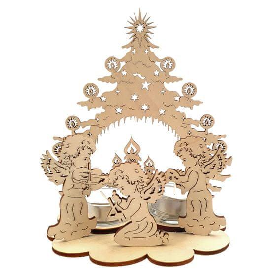 AMADEA Dřevěný svícen strom s andílky, 20 cm